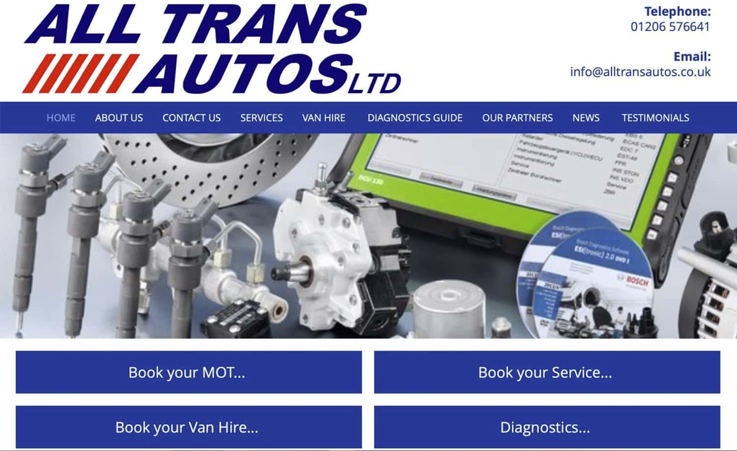 Digital Marketing, All Trans Autos Old Website Design